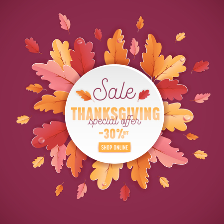 Happy Thanksgiving Sale Background Template with beautiful leaves Illustration for shopping sale, coupon, promotion poster and web banner in Vector Illustration
