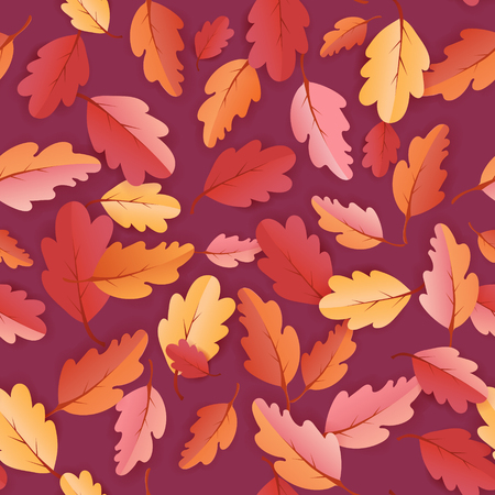 Autumn Leaves Seamless Background, Fall Template Pattern with beautiful leaves, Vector Illustration 일러스트
