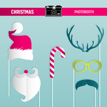 Christmas Retro Party set of Glasses, Hats, Moustaches, Beard, Masks for photobooth props in vector
