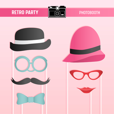 Retro party, bridal shower, wedding celebration, movember printable Glasses, Hats, Lips, Moustaches, Masks for photobooth props in vector 일러스트