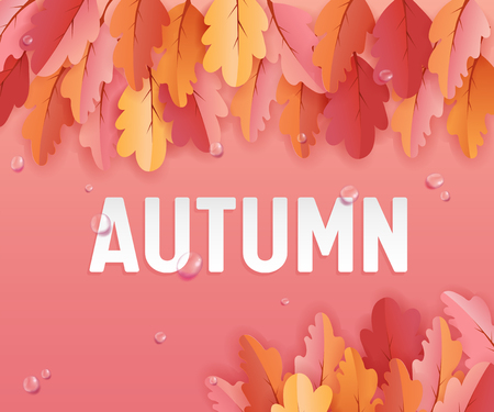 Autumn Greeting card with Beautiful Leaves and Rain drops, Background layout Decoration with Paper Art, Fall Illustration for Web Banner, Template, Wallpaper, Cover, Invitation in vector