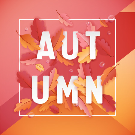 Autumn Background Template with Beautiful Leaves and Raindrops, Fall Illustration with Paper Art for Web Banner, Card Template, Wallpaper, Cover, Invitation in vector 일러스트