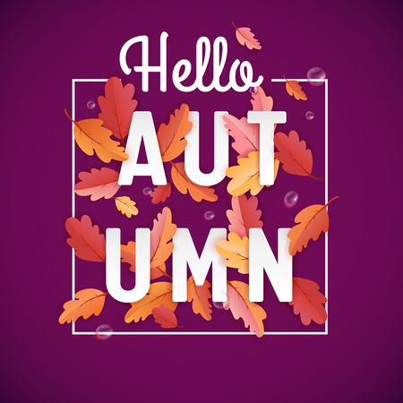 Autumn Background Template with Beautiful Leaves and Raindrops, Fall Illustration with Paper Art for Web Banner, T-shirt Fashion Graphic, Card Template, Wallpaper, Cover, Invitation in vector 일러스트