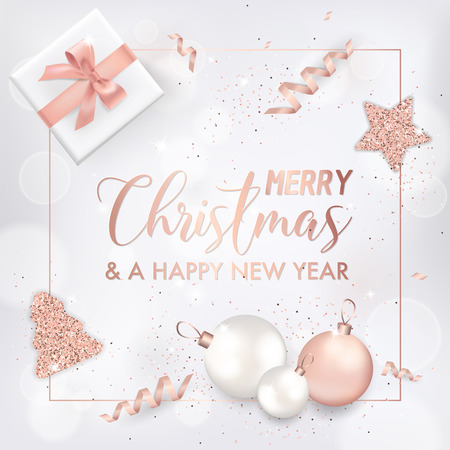 Elegant Merry Christmas Card with Rose Gold Christmas Tree Balls, Stars, Gifts for Invitation, Greetings or Flyer and New Year Brochure 2019