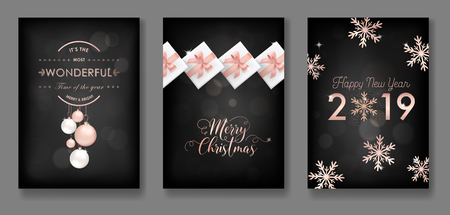 Set of Elegant Merry Christmas and New Year 2019 Cards with Shining Rose Gold Glitter Christmas Balls, Stars, Snowflakes for greetings, invitation, flyer, brochure, cover in vector Illustration