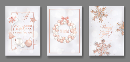 Set of Elegant Merry Christmas and New Year 2019 Cards with Shining Rose Gold Glitter Christmas Balls, Stars, Snowflakes for greetings, invitation, flyer, brochure, cover in vector 일러스트