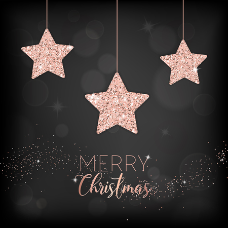 elegant merry christmas card with rose gold glitter stars for invitation or greetings or flyer and new year brochure 2019