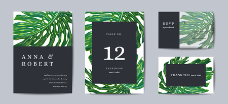Botanical wedding invitation card Template Design, Tropical Leaves in modern style, Collection of Save the date, RSVP in vector