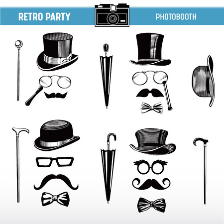 Retro party printable Glasses, Hats, Moustaches, Masks for photobooth props in vector