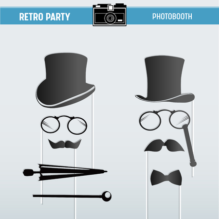 Movember Retro party printable Glasses, Hats, Moustaches, Masks for photobooth props in vector