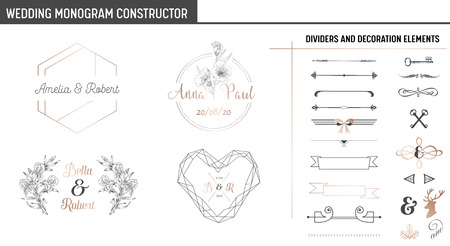 Wedding Monogram Constructor, Modern Minimalistic Collection of templates for Invitation cards, Save the Date, Logo identity in vector Stok Fotoğraf - 115842925