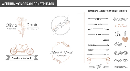 Wedding Monogram Constructor, Modern Minimalistic Collection of templates for Invitation cards, Save the Date, Logo identity in vector Stok Fotoğraf - 115842926