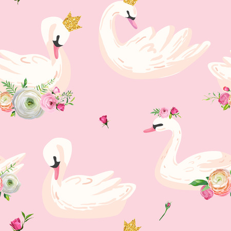 Beautiful Seamless Pattern with white Swans in crowns, use for Baby Background, Textile Prints, Covers, Wallpaper, Posters. Vector Illustration Archivio Fotografico - 110151770