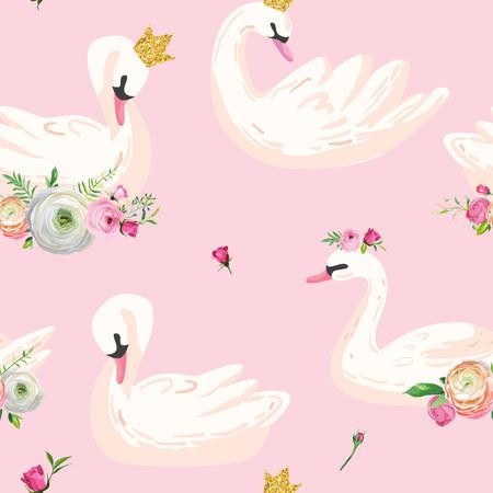 Hermoso patrón sin costuras con cisnes blancos en coronas, uso para fondo de bebé, estampados textiles, cubiertas, papel tapiz, carteles. Ilustración vectorial