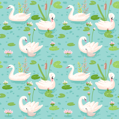 Beautiful Seamless Pattern with white Swans, use for Baby Background, Textile Prints, Covers, Wallpaper, Posters. Vector Illustration