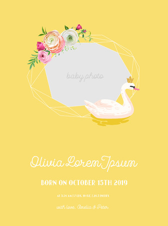 Baby Arrival Announcement with Illustration of Beautiful Swan and Geometry photo frame, Greetings or Invitation Card, Geometric Floral Frame in vector