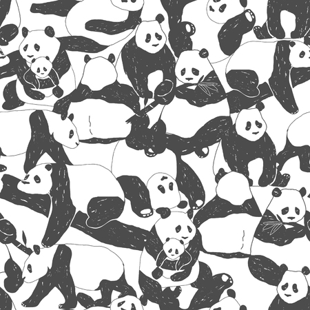 Cute Panda bear Seamless Pattern illustration for Textile Print, Poster, Cover, Children and Nursery Room, Wallpaper in vector