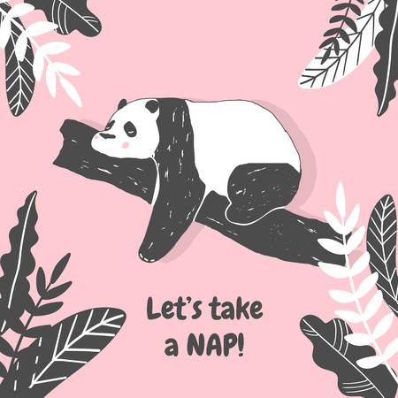 Cute Panda bear illustration, Simple style Birthday greeting card, poster, cover, Wall Print in vector 일러스트