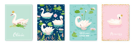 Collection of Beautiful Swans Posters for Design Print, Baby Greetings, Arrival Cards, Invitation, Children Store Flyer, Brochure, Cover in vector 일러스트