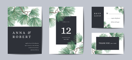 Botanical Wedding Invitation card Template Design, Pine Tree with Golden Foil, Christmas Greetings, Collection of Save the date, RSVP in vector