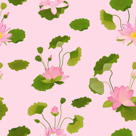 Seamless Pattern with Lotus Flowers and Leaves, Retro Tropical Floral Background for Fashion Print, Birthday Decoration Wallpaper. Vector Illustration Ilustrace