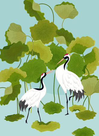 Graphic Illustration of Japaneese Cranes and Tropical Lotus Flowers for T-shirt design, Fashion prints, Banner, Flyer in vector Vectores
