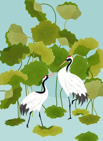 Graficzna ilustracja żurawi japońskich i tropikalnych kwiatów lotosu do projektowania koszulek, nadruków mody, banerów, ulotek w wektorze