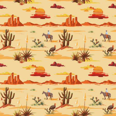 Vintage beautiful seamless desert illustration pattern. Landscape with cactuse, mountains, cowboy on horse, sunset vector hand drawn style background Ilustracja