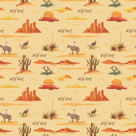 Modelo inconsútil hermoso de la ilustración del desierto de la vendimia. Paisaje con cactus, montañas, vaquero a caballo, fondo de estilo dibujado a mano de vector de puesta de sol
