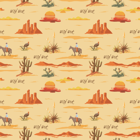 Vintage beautiful seamless desert illustration pattern. Landscape with cactuse, mountains, cowboy on horse, sunset vector hand drawn style background Vectores