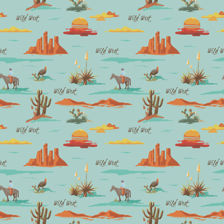 Vintage beautiful seamless desert illustration pattern. Landscape with cactuse, mountains, cowboy on horse, sunset vector hand drawn style background Illusztráció