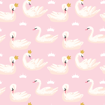Beautiful Seamless Pattern with white Swans and Crowns, use for Baby Background, Textile Prints, Covers, Wallpaper, Posters. Vector Illustration