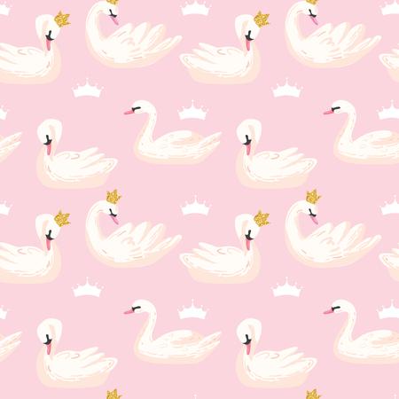 Hermoso patrón sin costuras con cisnes blancos y coronas, uso para fondo de bebé, estampados textiles, cubiertas, papel tapiz, carteles. Ilustración vectorial Ilustración de vector