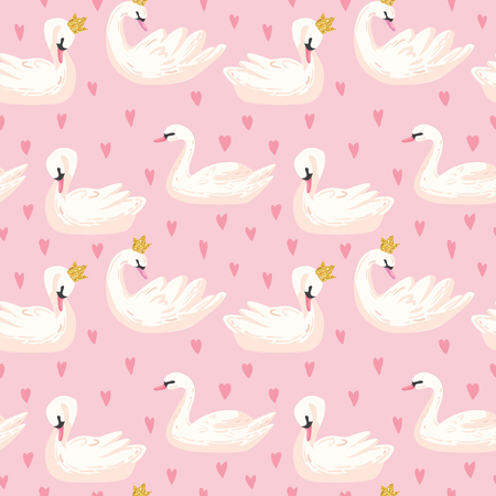 Beautiful Seamless Pattern with white Swans and Hearts, use for Baby Background, Textile Prints, Covers, Wallpaper, Posters. Vector Illustration  イラスト・ベクター素材