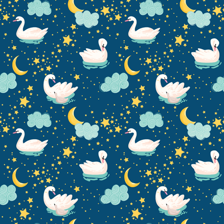 Beautiful Seamless Pattern with white Swans, Moon and Stars, use for Baby Background, Textile Prints, Covers, Wallpaper, Posters. Vector Illustration