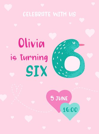 Birthday Baby Cute Card with Pinguin and Number Six, Invitation Postcard, Flyer, Poster, Greetings Illustration in vector