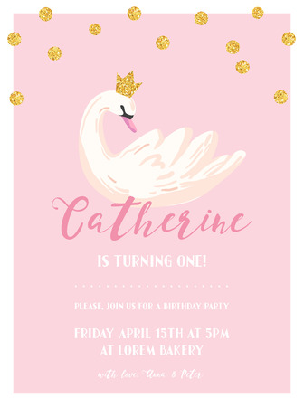 Baby Birthday Invitation Card with Illustration of Beautiful Swan and Golden Glitter Dots, arrival announcement, greetings in vector