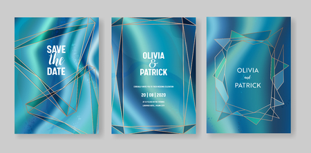 Wedding geometric geode or marble template, artistic covers design, colorful texture, realistic backgrounds. Trendy pattern, geometry brochure, save the date cards, graphic poster. Vector illustration.