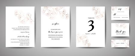 Wedding Invitation, floral invite thank you, rsvp modern card Design in copper ginkgo biloba leaves branches decorative. Vector elegant rustic template