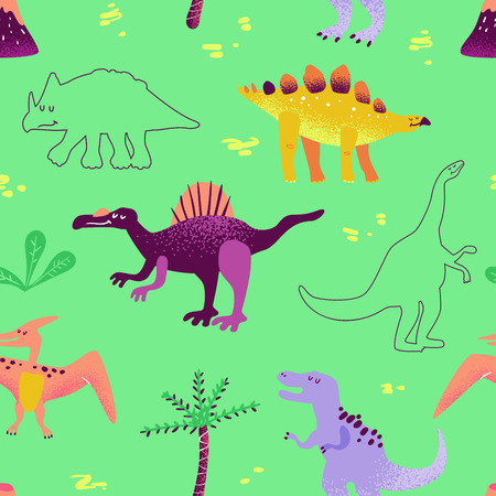 Seamless cute cartoon dinosaurs pattern. Vector baby dino background texture. Backdrop for textile, fabric, wallpaper print Ilustração