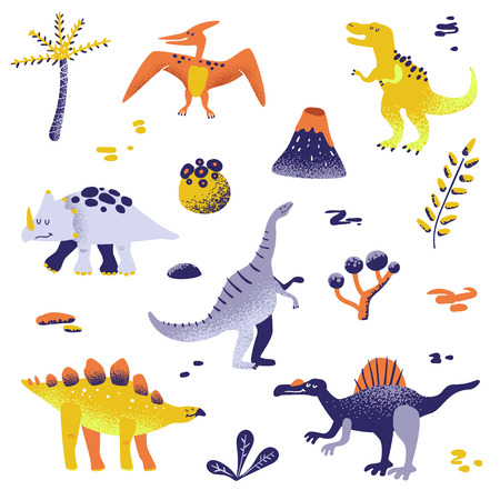 Cute Dinosaurs isolated on white background. Dinosaur footprint, Volcano, Palm tree, Stones. Baby Dino Collection for Nursery, Textile, Book, Print in vector Vectores