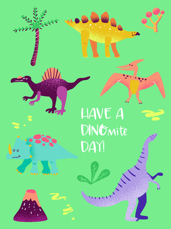 Set of Funny Dinosaurs for Poster Print, Baby Greetings Illustration Illustration