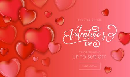 Feliz día de San Valentín venta folleto o cartel con corazones de colores 3d y diseño de letras dibujadas a mano, ilustración de vector de tarjeta de amor