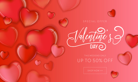 Happy Valentines Day Sale Flyer or Poster with 3d Colorful Hearts and Hand Drawn Lettering design, Love card vector illustration