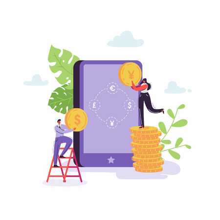 Mobile Currency Exchange Service. Online Banking Concept with Characters and Money. Businessman and Business Woman Changes Currency Using Tablet. Vector illustration