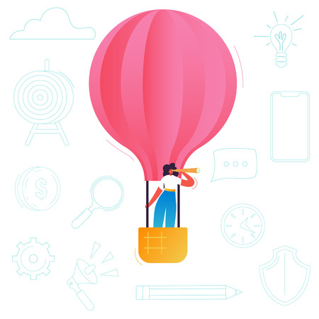 Business Woman Flying on a Hot Air Balloon. Female Character with Spyglass in Search of New Idea. Opportunity Inspiration Concept. Vector illustration