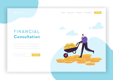 Financial Consultation Strategy Landing Page Template. Flat Businessman Character Saving Money with Cart Banner for Website or Web Page. Profit, Career, Salary. Vector illustration