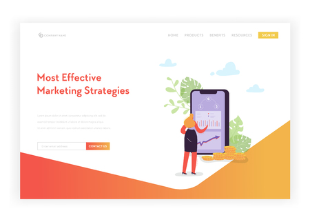Mobile Marketing Landing Page Template. Online Banking Currency Exchange Concept with Woman Character Transferring Money Using Smartphone for Web Page and Mobile Website. Vector illustration