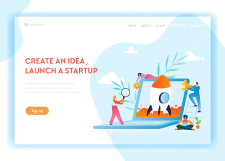 Business Startup Landing Page Template. Launch a New Project Website with Characters Launches Rocket Using Laptop. Teamwork Innovation Web Page. Vector illustration