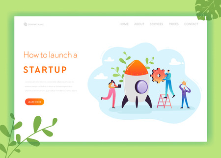 Business Startup Landing Page Template. Investment, Career Boost and Strategy Banner with Characters Launches Rocket. Teamwork Innovation Web Page. Vector illustration Ilustração